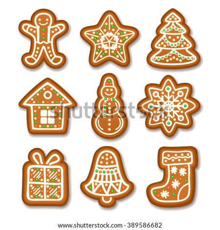 Set of Gingerbread Christmas cookies decorated icing. Holiday cookie in shape of Christmas Xmas tree, star, bell, sock, gingerbread men, snowflake, snowman and gift. - stock photo