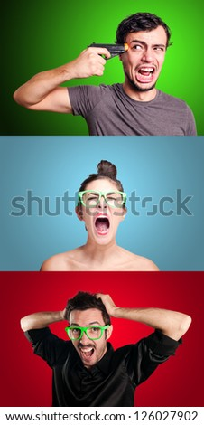 set of girl and two guys on colorful background