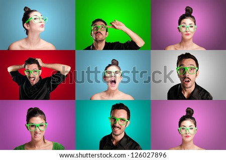 set of girls and guys on colorful background