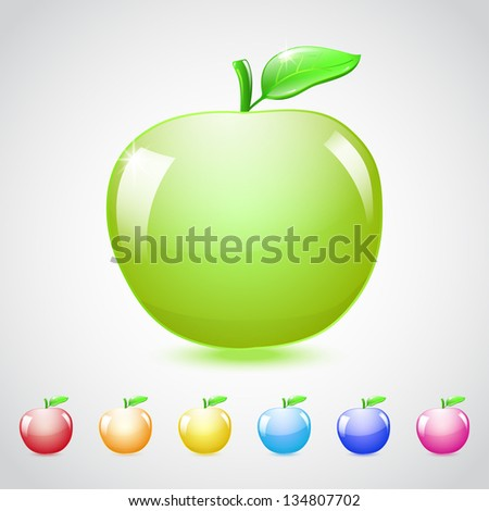 Set of glass apples in different colors, with green leaf. Raster version. - stock photo