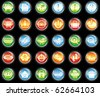 Set of glass buttons on black background - stock photo