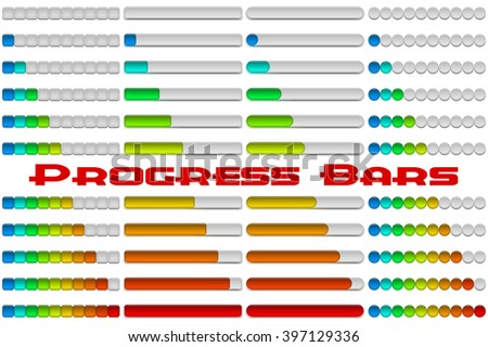 Set of Glass Colorful Loading Progress Bars at Different Stages, Elements for Web Design
