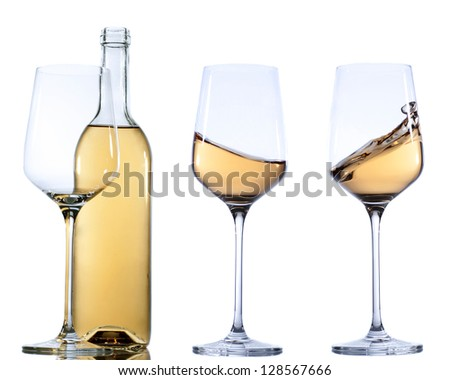 Set of glass with white wine on white background. - stock photo