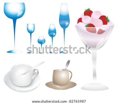 Set of glasses and cups - stock photo