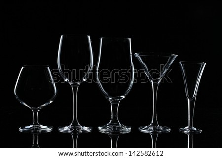 Set of glasses for alcoholic drinks - stock photo