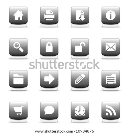Set of glossy gray web and internet icons - stock photo