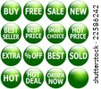 Set of glossy green icons with promotional keywords. - stock vector