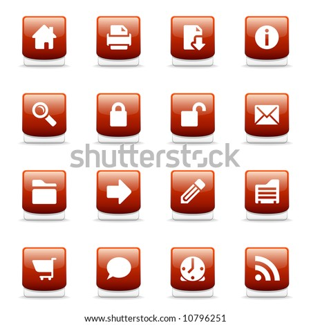 Set of glossy red web and internet icons - stock photo