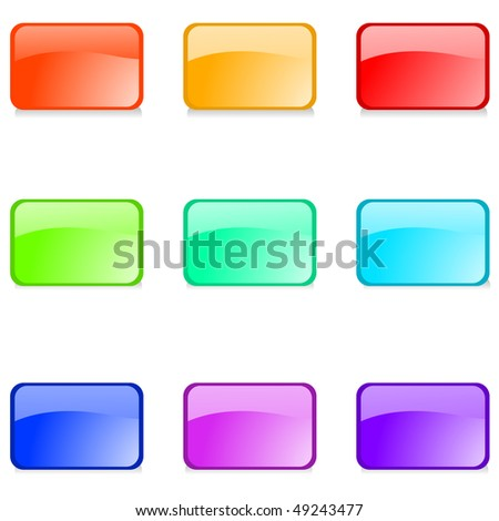 Set of  glossy web buttons on white background