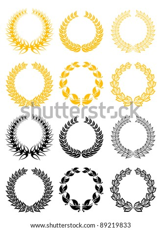 Set of gold and black laurel wreaths, such a logo. Vector version also available in gallery - stock photo