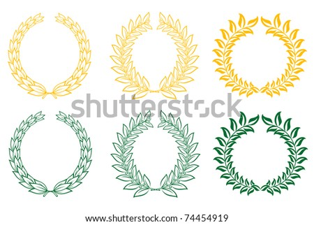Set of gold and green laurel wreaths. Vector version also available in gallery - stock photo