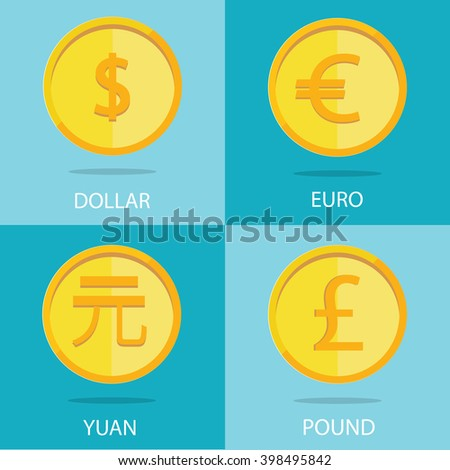set of gold coins on colorful background, euro, dollar, yuan, pound