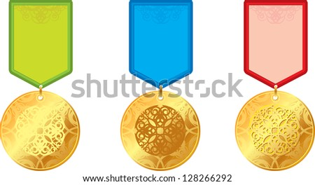 set of gold medals with ornament - stock photo
