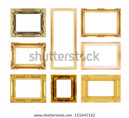 Set of gold picture frame isolated on white background