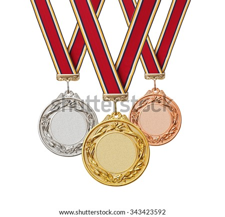 Set of gold, silver and bronze medals with  ribbons isolated on white background.