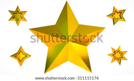 Set of gold stars of various shapes. One big, five smaller. - stock photo