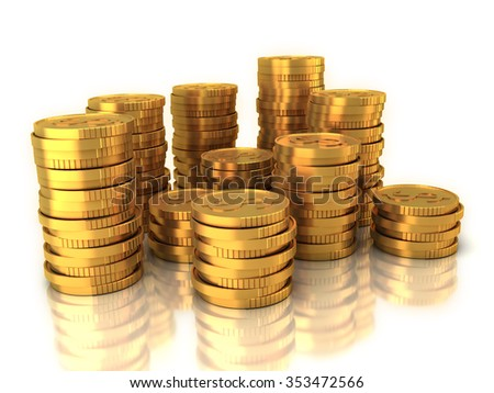 Set of gold US dollar coins isolated on white background with reflection.