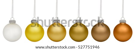 Set of golden christmas baubles isolated on white background