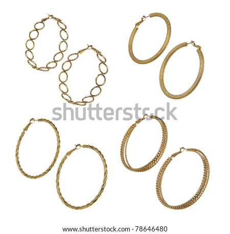 set of golden earrings - stock photo