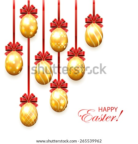 Set of golden Easter eggs with decorative patterns and red bow isolated on white background, illustration. - stock photo