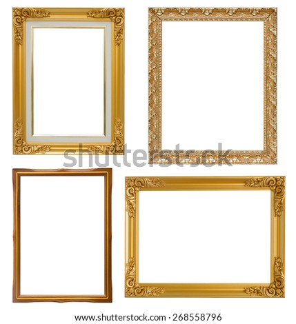Set of golden frame and wood vintage isolated on white background. - stock photo