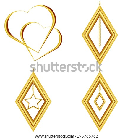 set of golden icons golden heart golden rhombus golden pendant isolated on white background raster - stock photo