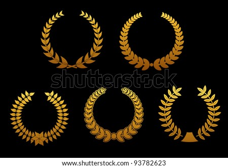 Set of golden laurel wreaths for sports badges. Vector version also available in gallery - stock photo