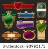 Set of golden luxury framed label. (Vector version of this work is available in my portfolio: # 65052976) - stock photo