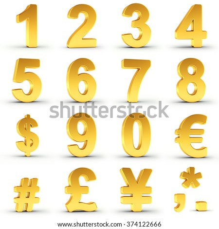 Set of golden numbers and currency symbols over white background with clipping path for each item for fast and accurate isolation. Ideal for price tags, circulars and adverts. - stock photo
