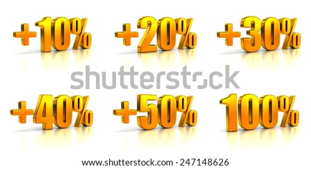 Set of Golden Percent Tags for Sales and Discounts. Numbers Ten, Twenty, Thirty, Forty, Fifty, One Hundred - stock photo