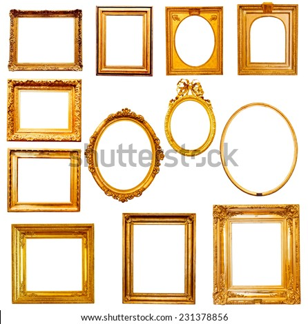 Set of golden vintage frame isolated on white   - stock photo
