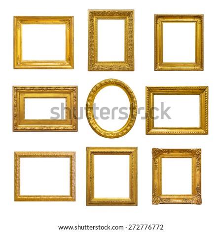 Set of golden vintage frame on white background - stock photo