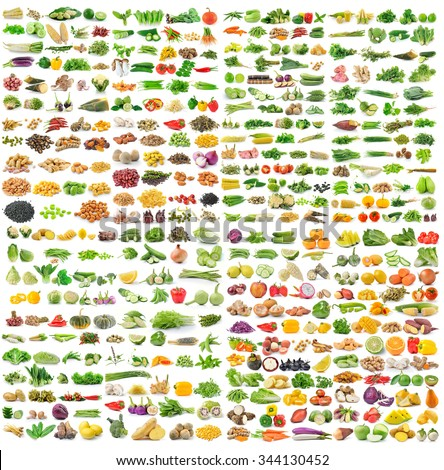 set of grains and vegetable on white background - stock photo