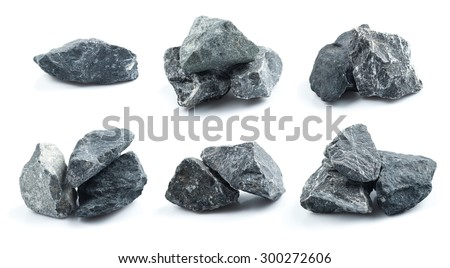 Set of Granite stones on the white background - stock photo