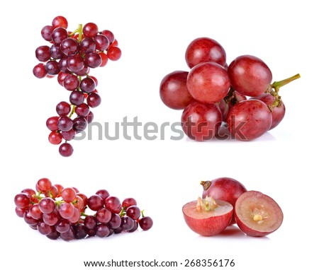 Set of grapes isolated on over white background. - stock photo