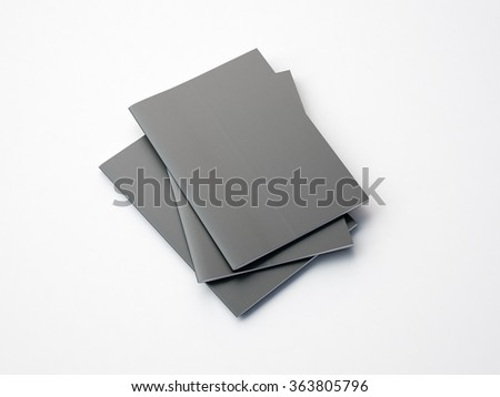 Set of gray notebooks on the white background. 3d render - stock photo
