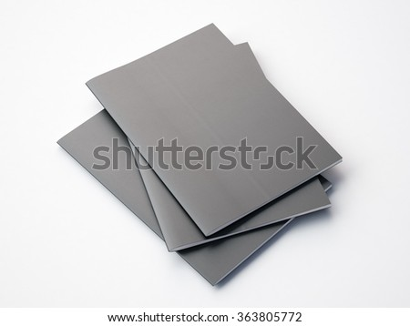 Set of gray notebooks on the white background. Horizontal.3d render - stock photo