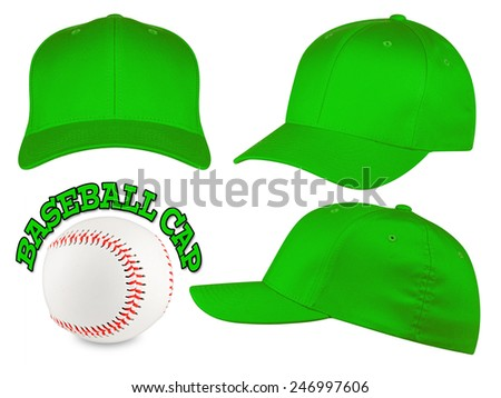 Set of green baseball caps with baseball - stock photo