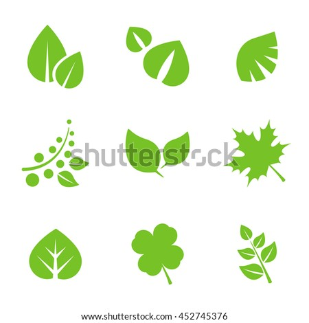Set of Green Leaves Design Elements.