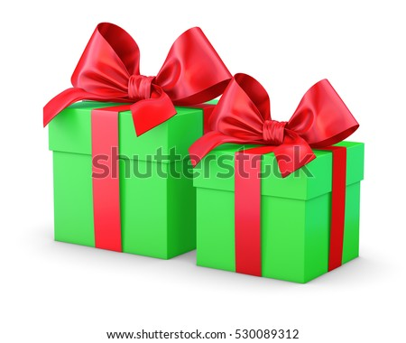 set of green red gift box isolated for Christmas, New Year's Day 3d rendering