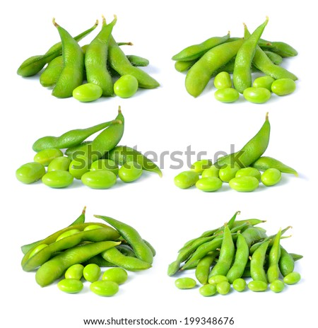 Set of green soybeans on white background - stock photo