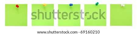 Set of green sticky notes with pushpins - stock photo