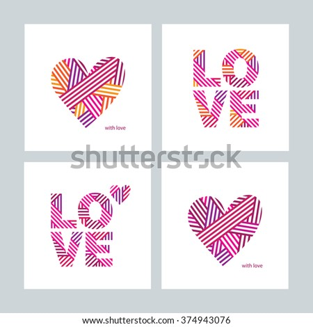 Set Greeting Cards Valentines Day Mothers Vector 373589335 – International Birthday Cards