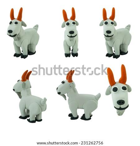 Set of grey goat made from plasticine on white background - stock photo