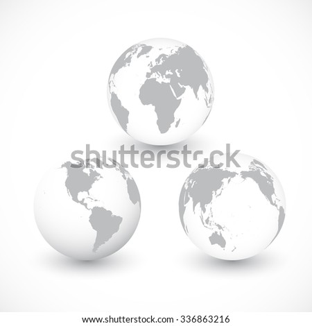 Set Of Grey World Globes , Illustration.