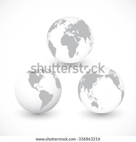 Set Of Grey World Globes , Illustration. - stock photo