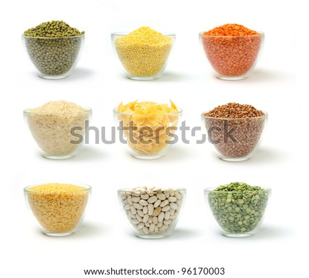 Set of groats in glass on white background - stock photo