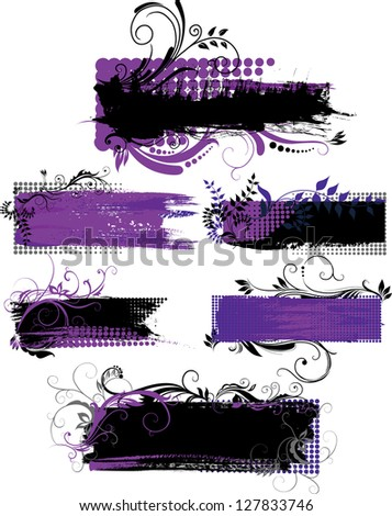 Set of grunge banners with patterns with free space for message - stock photo