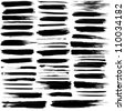 Set of grunge brush strokes. For vector version, see my portfolio. - stock photo