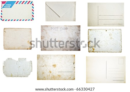Set of grunge empty postcards and envelopes isolated on white background - stock photo